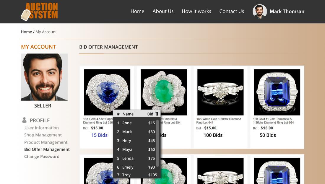 Auction System Script - Bid Offer Management for Seller