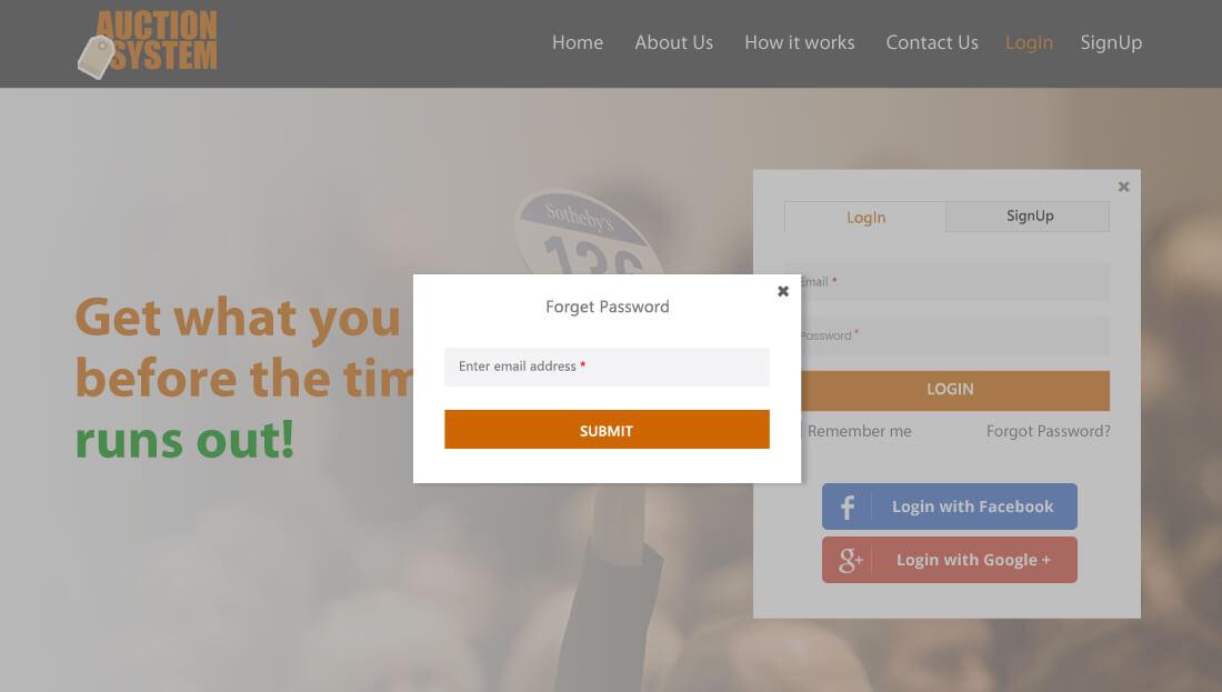 Auction System Script - Forget Password
