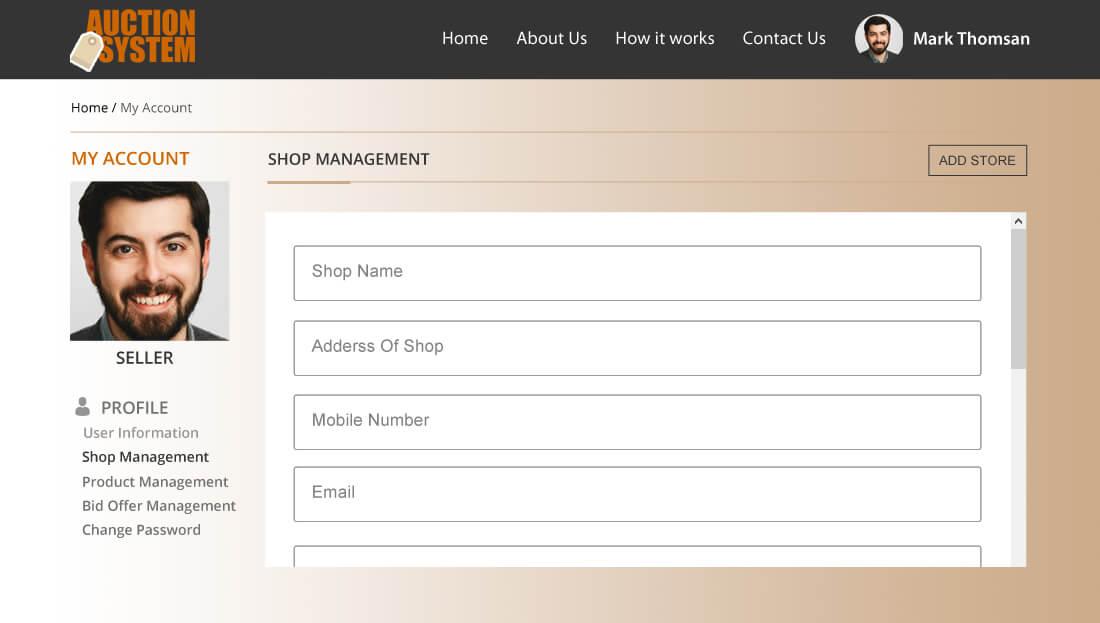 Auction System Script - Shop Management for Seller