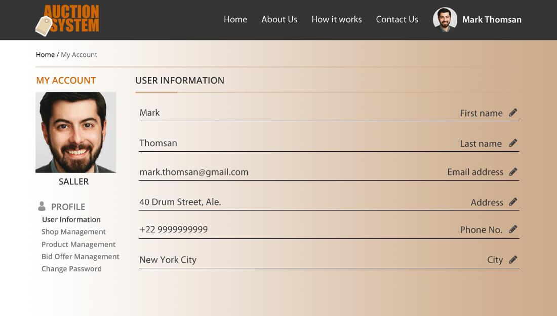 Auction System Script - User Profile