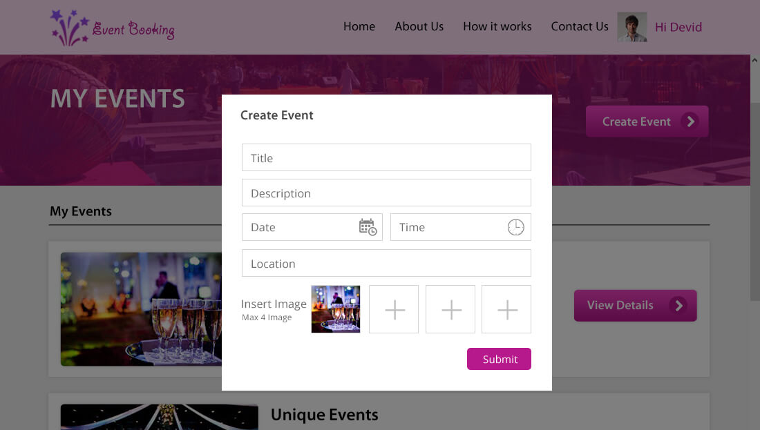 Event Booking Script - Event Creation/Management