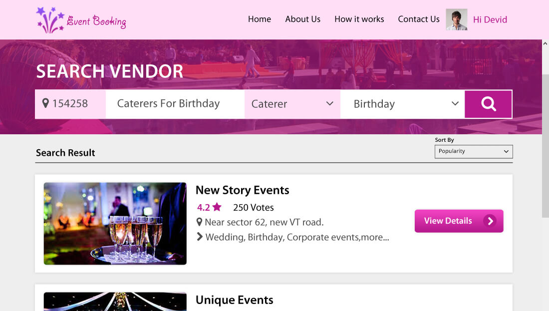 Event Booking Script - Vendor Listing