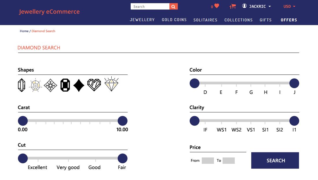 Jewellery E-Commerce Script - Advanced Search for Diamonds