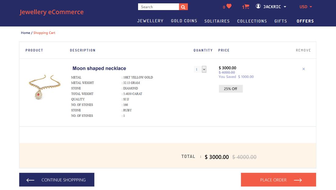 Jewellery E-Commerce Script- Add to cart