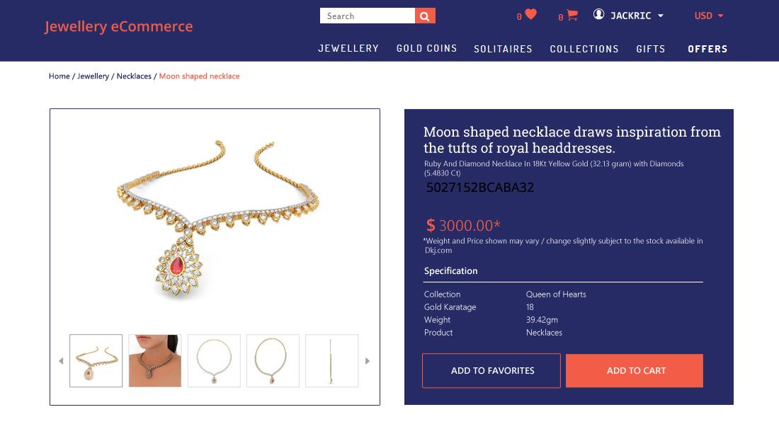 Jewellery E-Commerce Script - Jewellery Detail