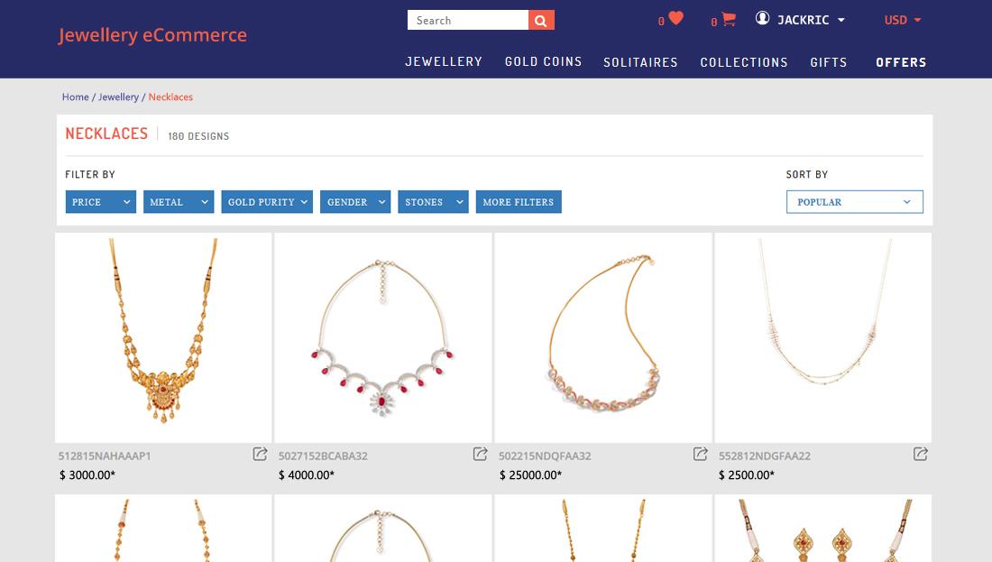 Jewellery E-Commerce Script - Jewellery Listing