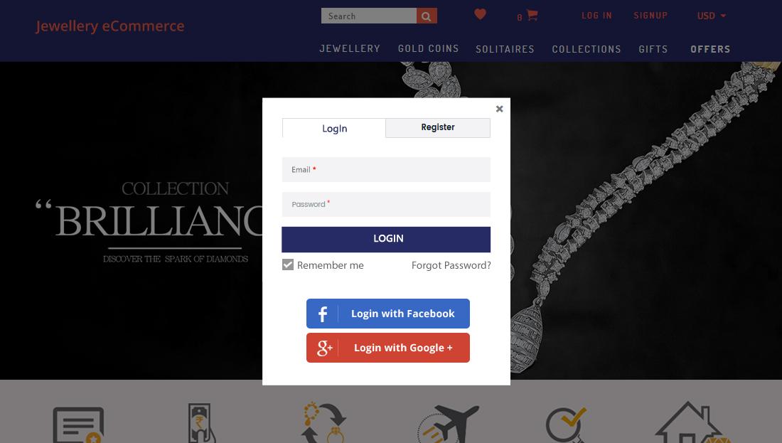 Jewellery E-Commerce Script - Login