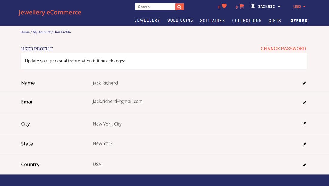 Jewellery E-Commerce Script- User Profile