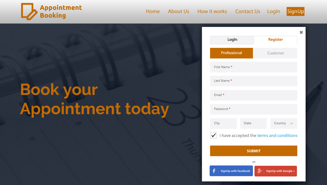 Appointment Booking Script - Sign Up