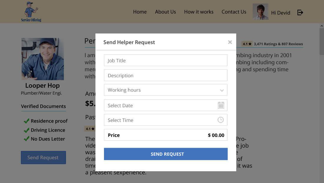 Service Offering Script - Sending Helper Request