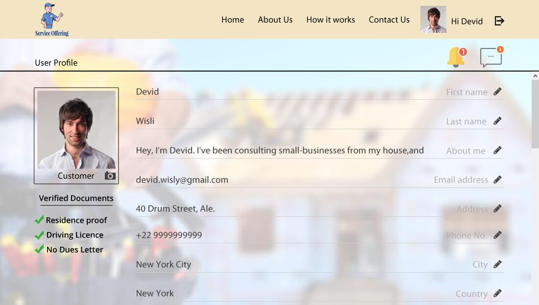 Service Offering Script - User Profile