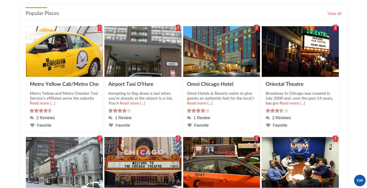 Business Directory Script - Popular Places