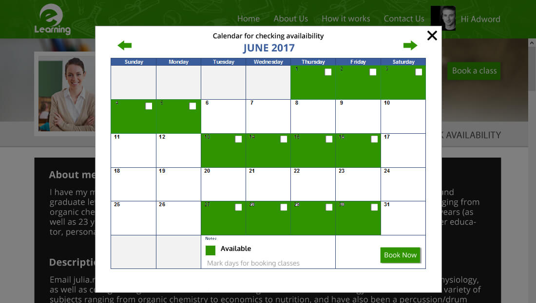 Calendar for checking availability