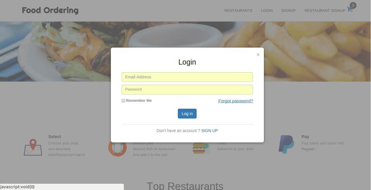 Restaurants/Customers login