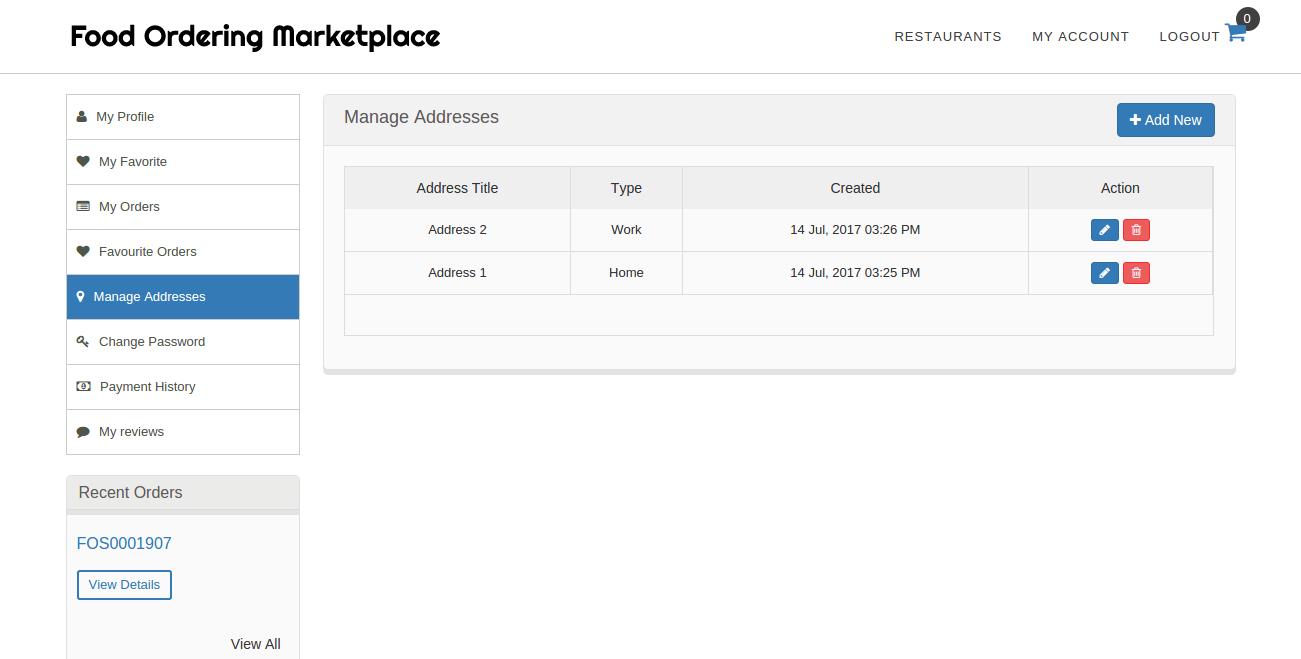 Delivery Address Management