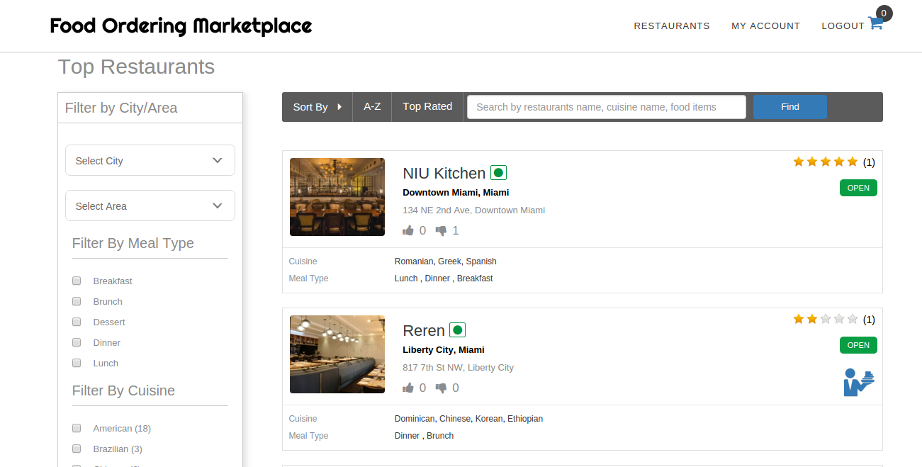 List/Filter/Sort Restaurants