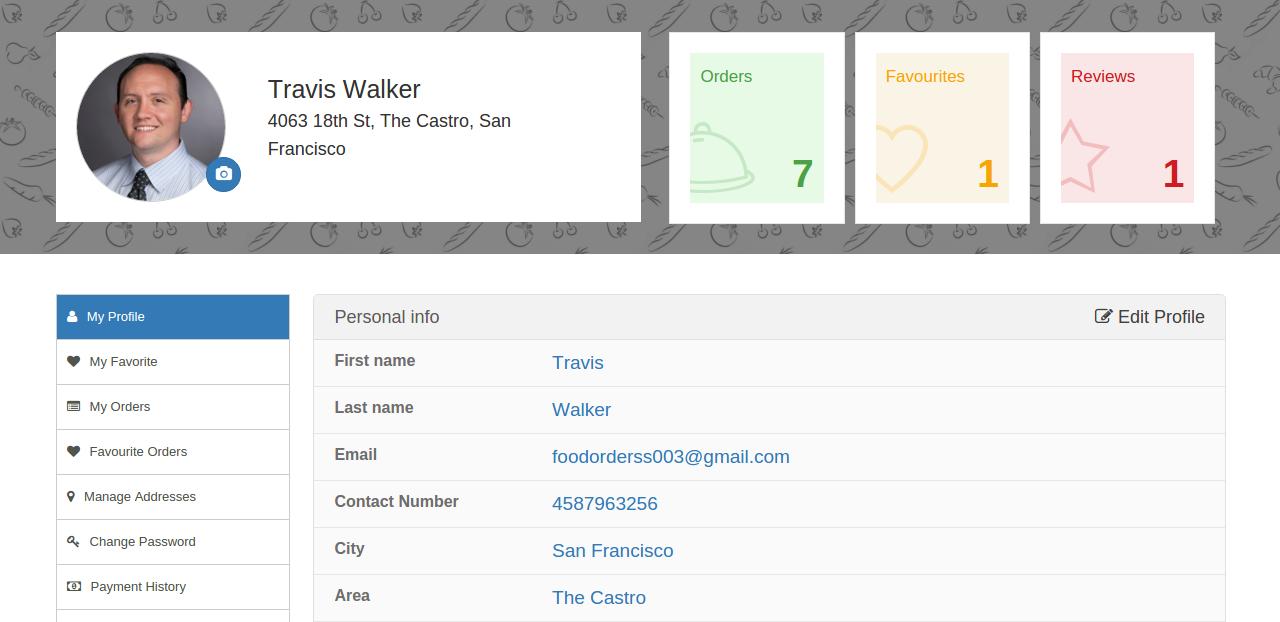 User Profile for Customer