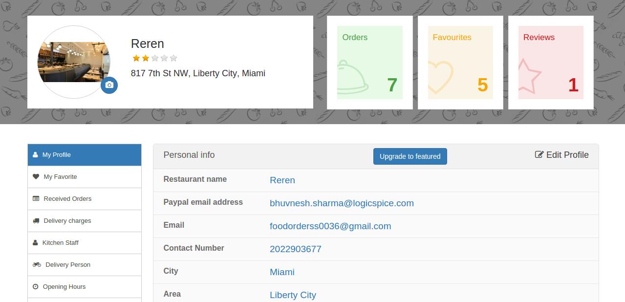 User Profile For Restaurant