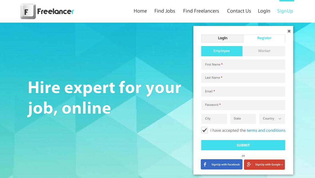 Freelancer Clone Script - Sign Up