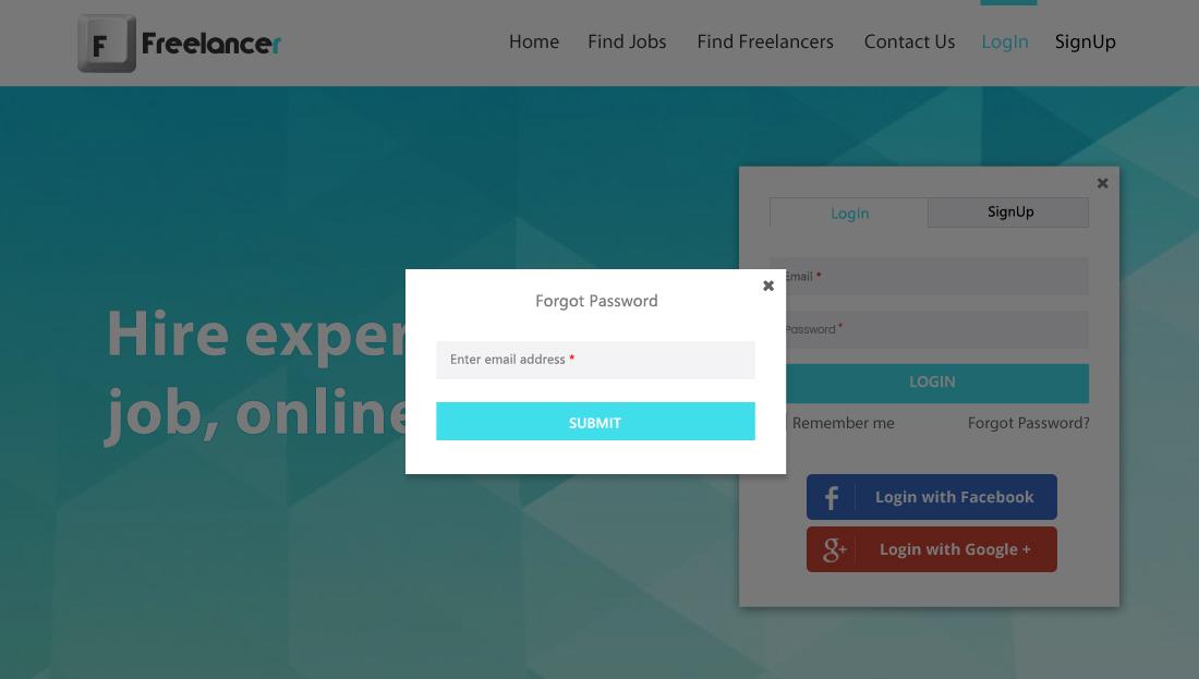 Freelancer Clone Script - Forgot Password