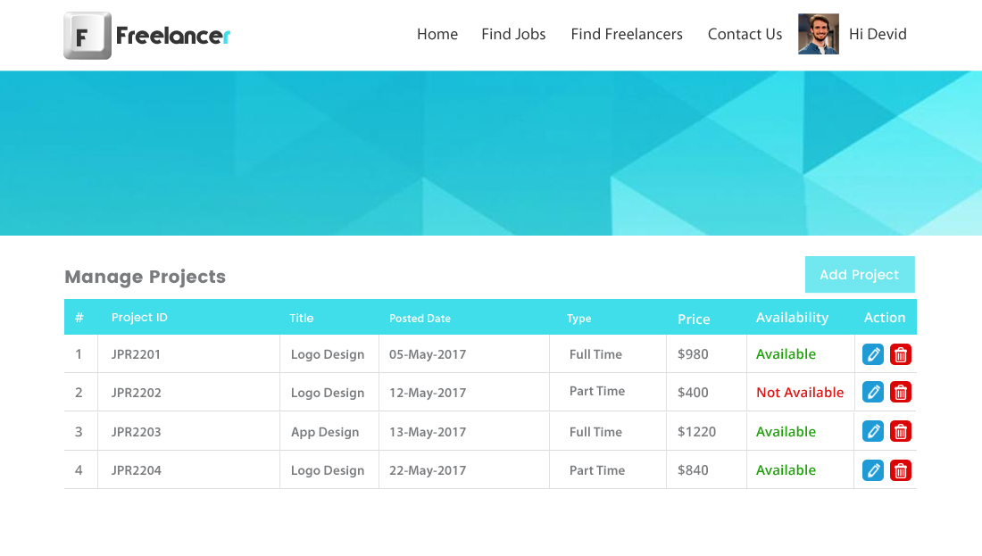 Freelancer Clone Script - Manage Projects