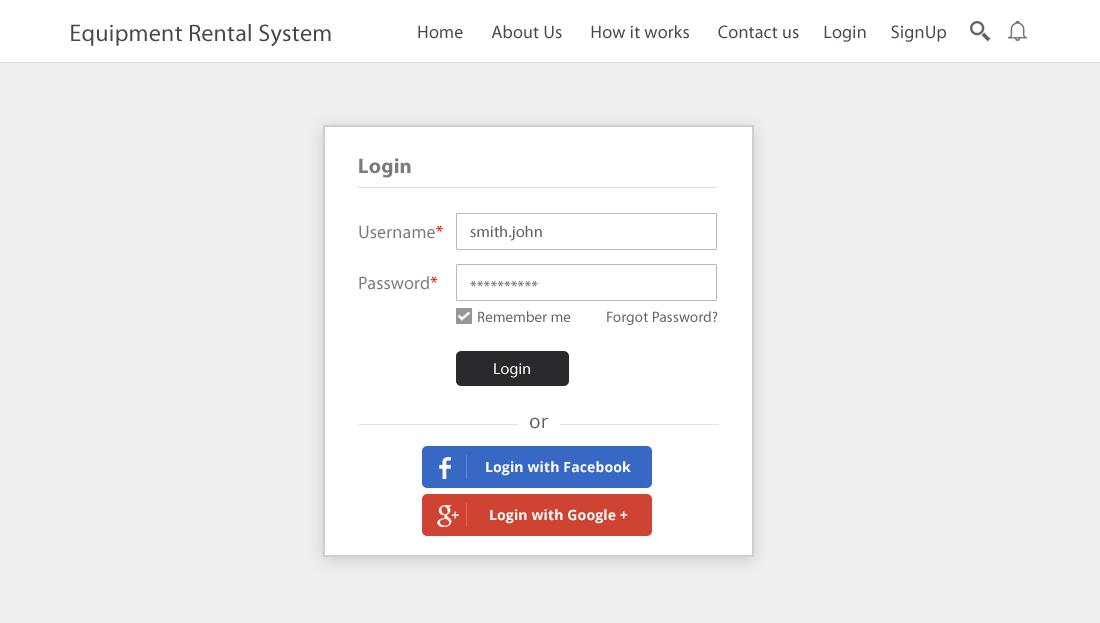 Equipment Rental Script - User Login
