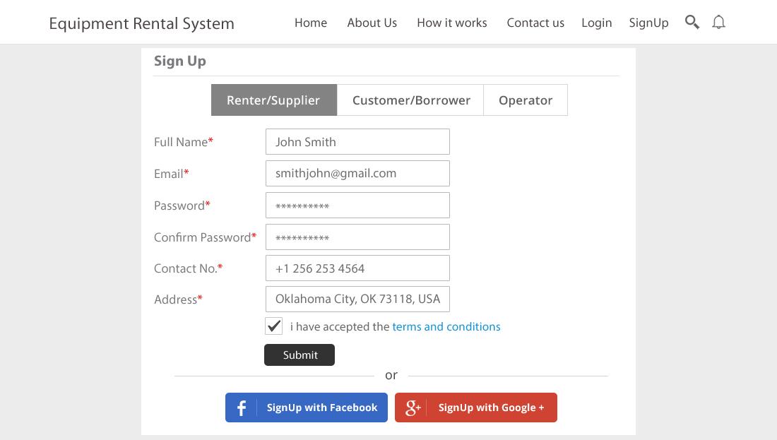 Equipment Rental Script - User Registration