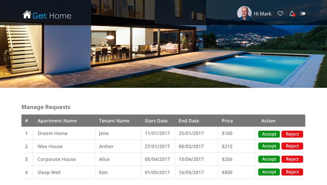 Property Rental Script - Manage Requests Module