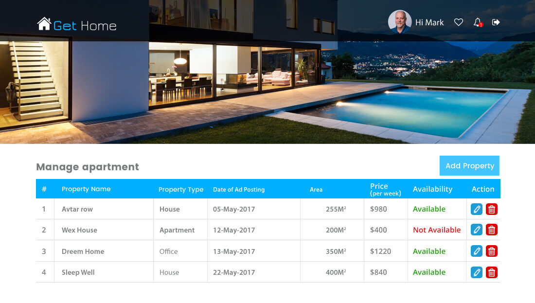 Property Rental Script - Manage apartment