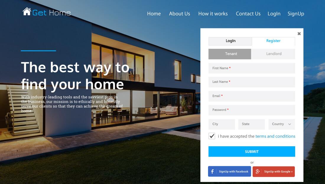 Property Rental Script - Registration