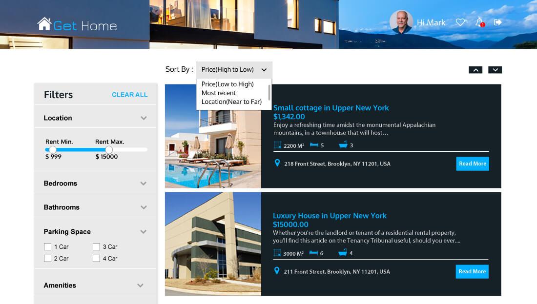 Property Rental Script - Filter/Sort search