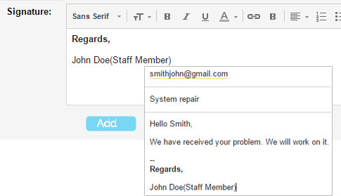 Email signatures Ticket System