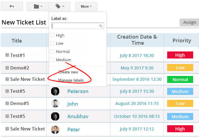 Organize tickets with labels