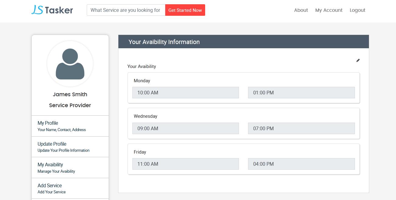 Service Provider Listing